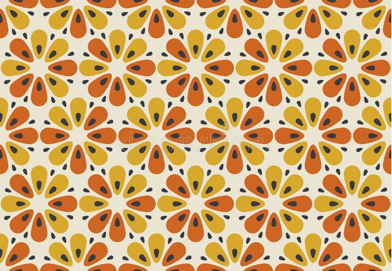 Retro orange and yellow color 60s flower motif. Geometric floral royalty free illustration
