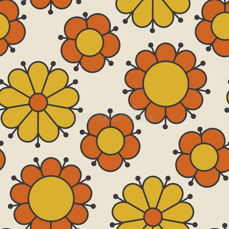 Retro orange and yellow color 60s flower motif. Geometric floral seamless pattern. vector illustration vector illustration