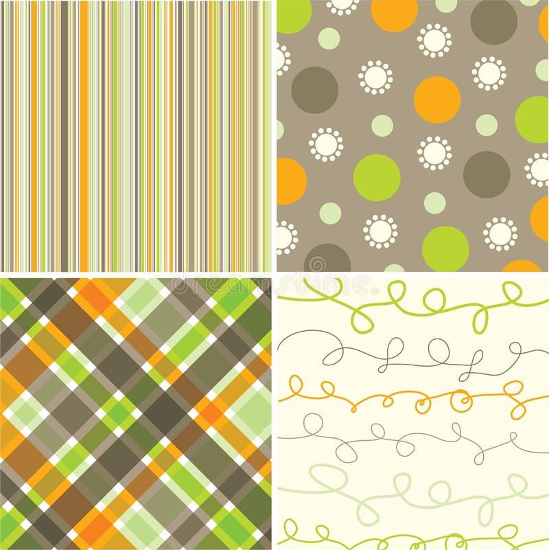 Retro oranje bruine vierkanten stock illustratie