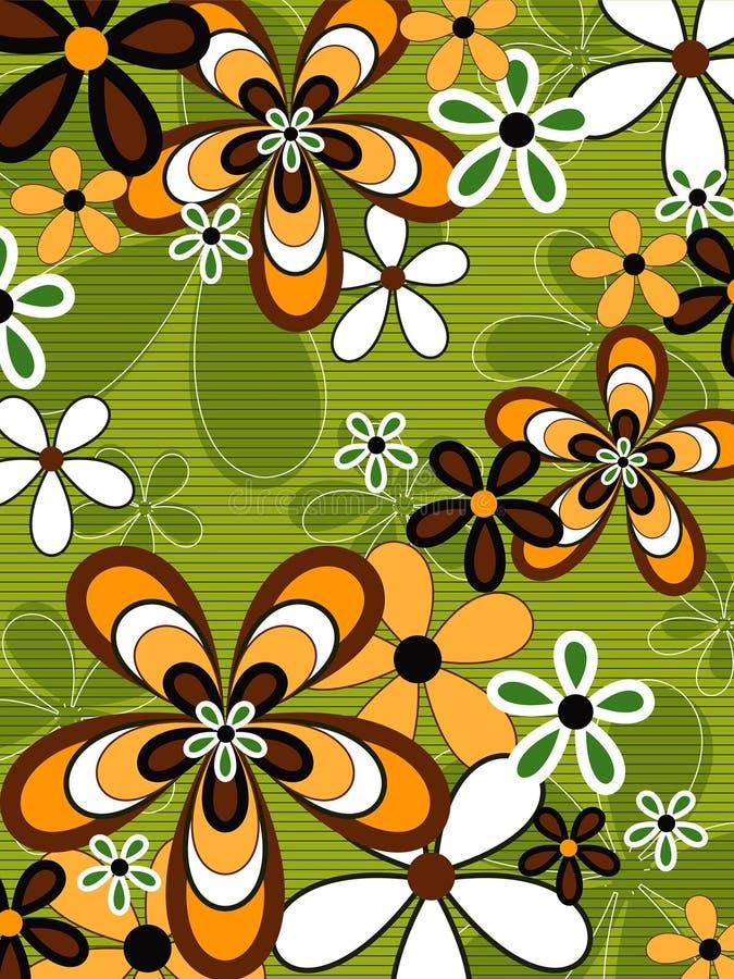 Retro oranje en groene bloem royalty-vrije illustratie