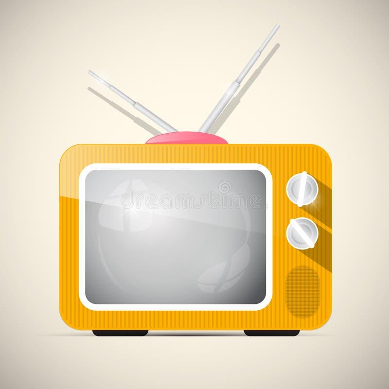 Retro Oranje TV-Illustratie vector illustratie