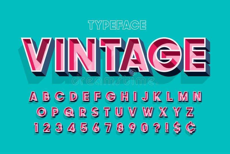 Retro originele 3d ontwerp van de vertoningsdoopvont, alfabet, brieven stock illustratie