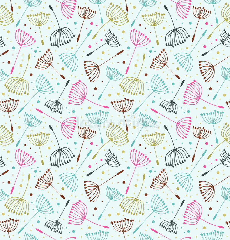 Retro ornate endless pattern. Seamless decorative texture with flowers. Background with fluff. stock illustration