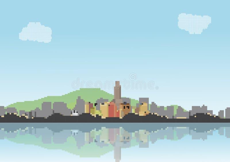 Retro Osiem kawałków miasta linia horyzontu z odbicia tłem - Vecto ilustracji