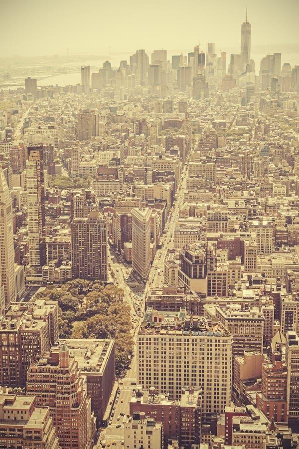 Retro oude beeld van de filmstijl van Manhattan, NYC royalty-vrije stock foto