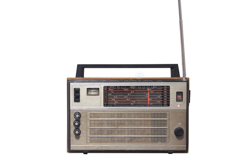 Retro oude uitstekende radiodievoorzijde op witte achtergrond wordt geïsoleerd stock fotografie