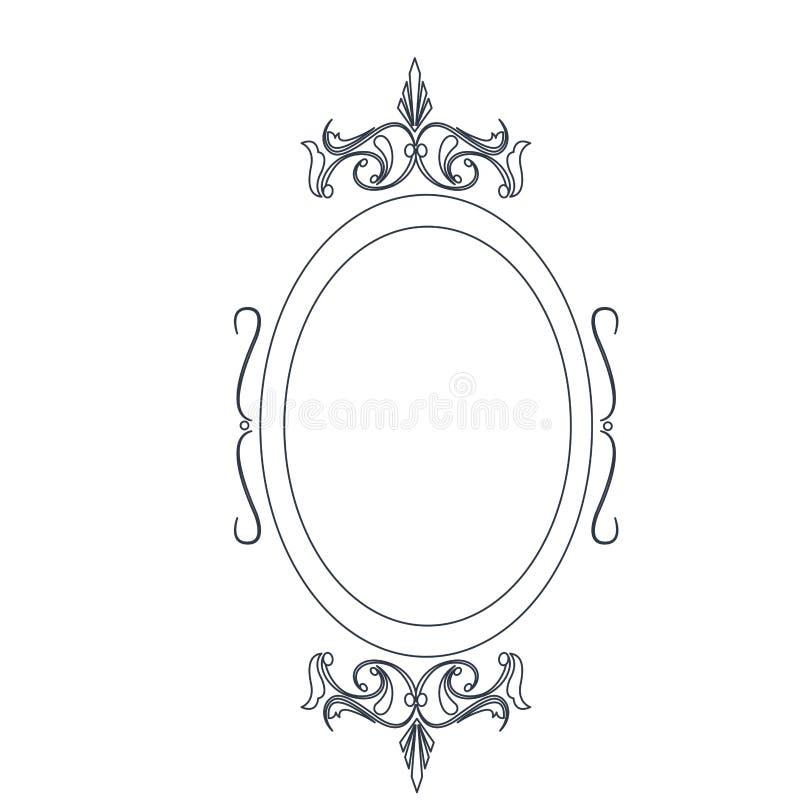 Retro ovaal de lijnontwerp van het kader klassiek overladen element royalty-vrije illustratie