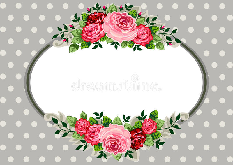 Retro oval roses vintage. Retro roses oval frame and ornaments with space for your text or design on polka dot grey background vector illustration