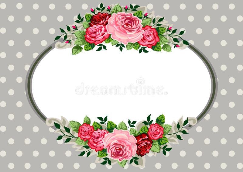 Retro ovale rozenwijnoogst vector illustratie