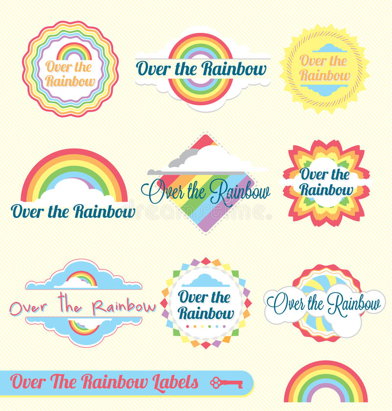 Retro Over the Rainbow Labels and Stickers royalty free illustration