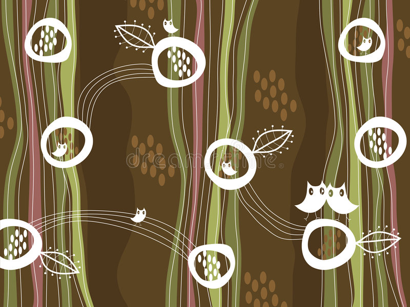 Download Retro Owls And Nest On Brown Stock Vector - Image: 3494813