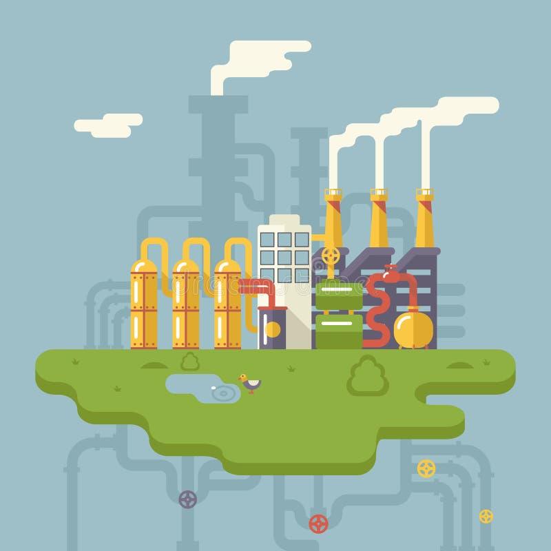 Retro Płaska Fabryczna rafinerii rośliny produkcja ilustracji
