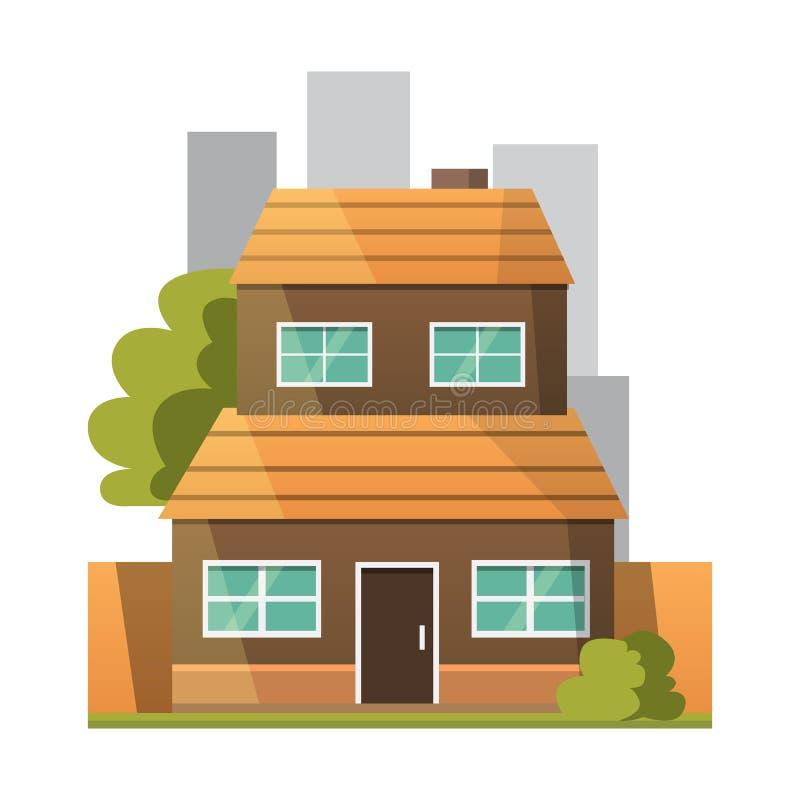 Retro Płaska miasto domu ikona grodzki budynek lub intymny mieszkaniowy nowoczesne mieszkania ilustracji