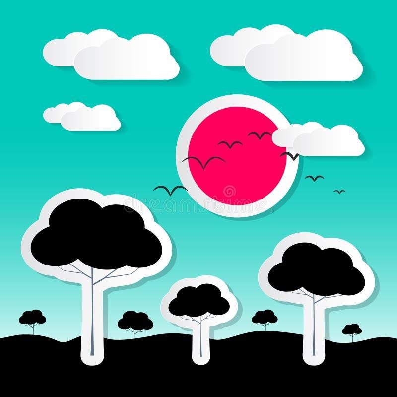 Download Retro Płaska Projekta Wektoru Krajobrazu Ilustracja Ilustracja Wektor - Ilustracja złożonej z niebo, ilustracje: 57654410
