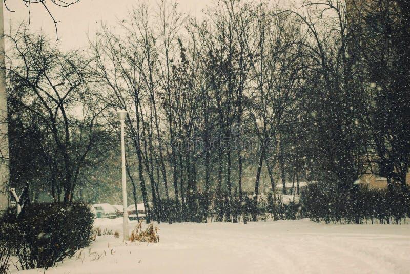 Retro paesaggio di nevicata nell'inverno immagine stock