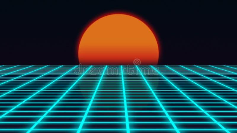 Retro paesaggio futuristico con stile degli anni 80 di tramonto, paesaggio digitale di estate con la superficie di griglia, rappr illustrazione di stock