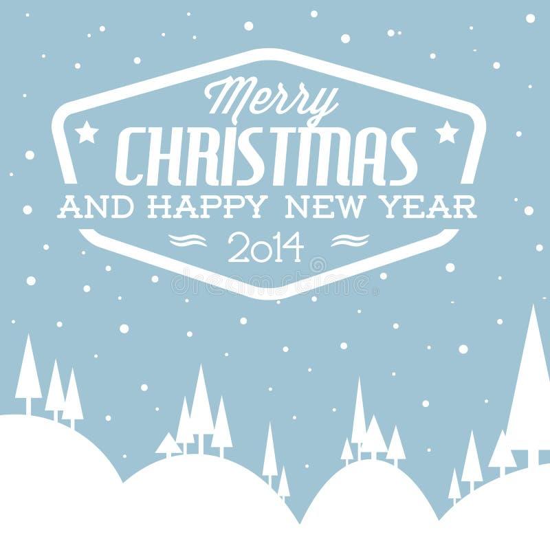 Retro paesaggio nevoso di vettore come cartolina di Natale illustrazione vettoriale