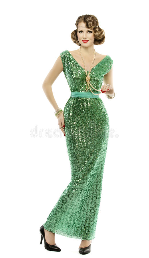 Retro- Pailletten-Kleid der Frau in Mode, elegantes Damenkleid stockfoto