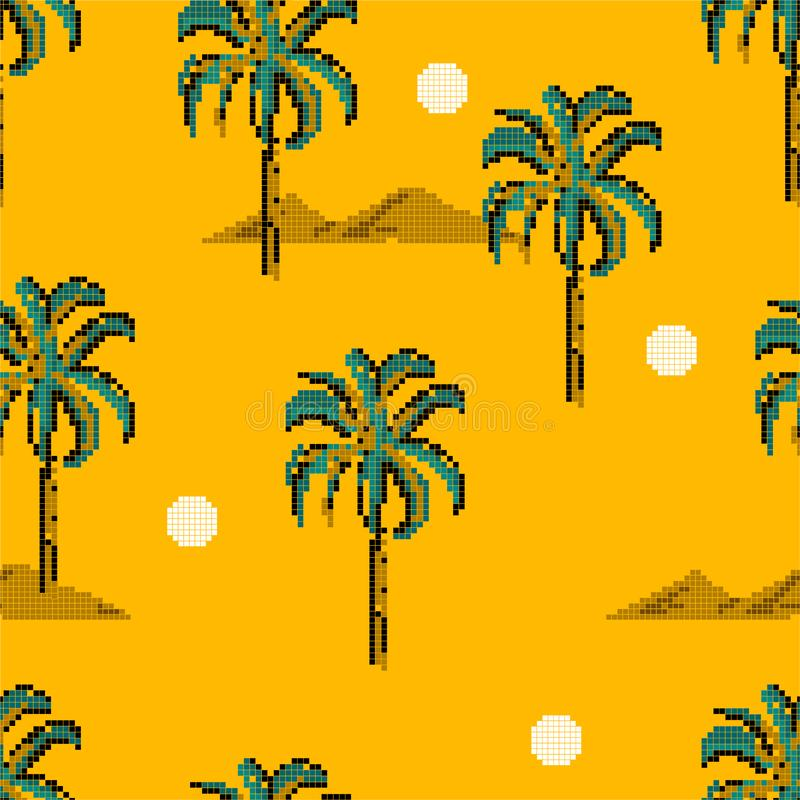 Retro Palm trees and island mountain pixle  in vector illustration. Design for fashion , fabric, web ,wallpaper, wrapping  and all. Retro Palm trees and island vector illustration