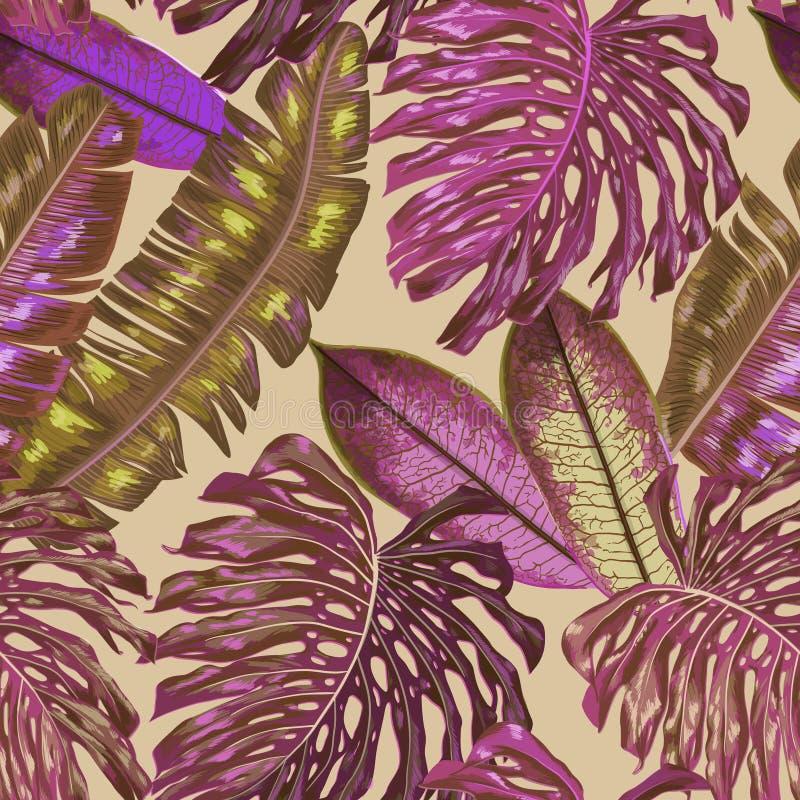 Retro palmbladenpatroon als achtergrond, de tropische textuur van de wildernisillustratie voor behang, druk, ontwerp royalty-vrije illustratie