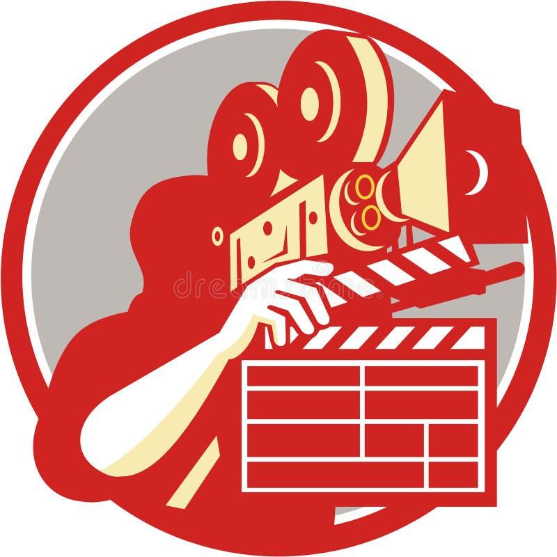 Retro panelbräda för kameramanVintage Film Movie kamera royaltyfri illustrationer