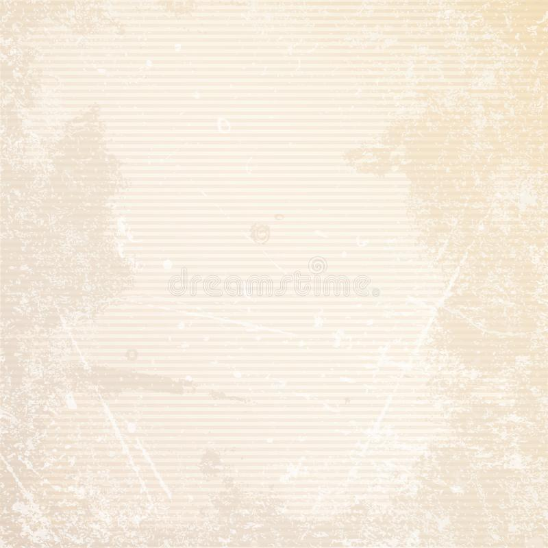 Retro Paper Background Horizontal Lines Scratches And Stains Beige stock illustration