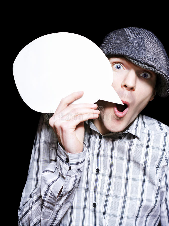 Download Retro Paperboy Making Speech Bubble Announcement Royalty Free Stock Photo - Image: 26621865