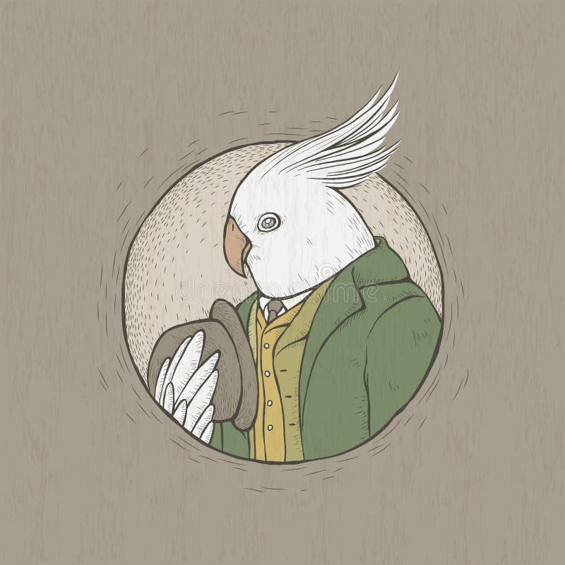 Retro pappagallo disegnato a mano del signore di stile illustrazione vettoriale