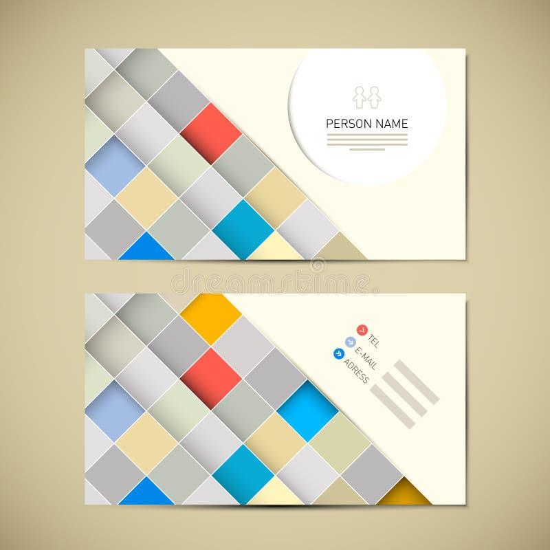 Retro pappers- mall för affärskort royaltyfri illustrationer