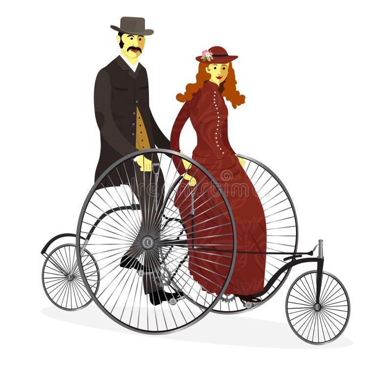 Retro par av cyklister på cykeln också vektor för coreldrawillustration  royaltyfri illustrationer