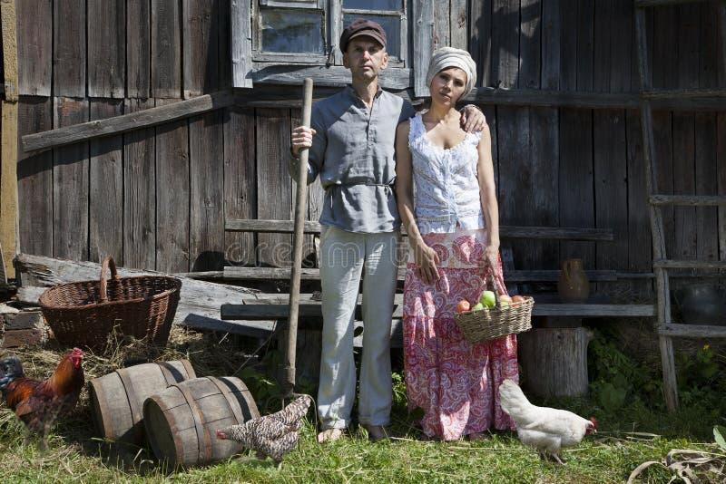 Retro para na gospodarstwie rolnym obrazy royalty free
