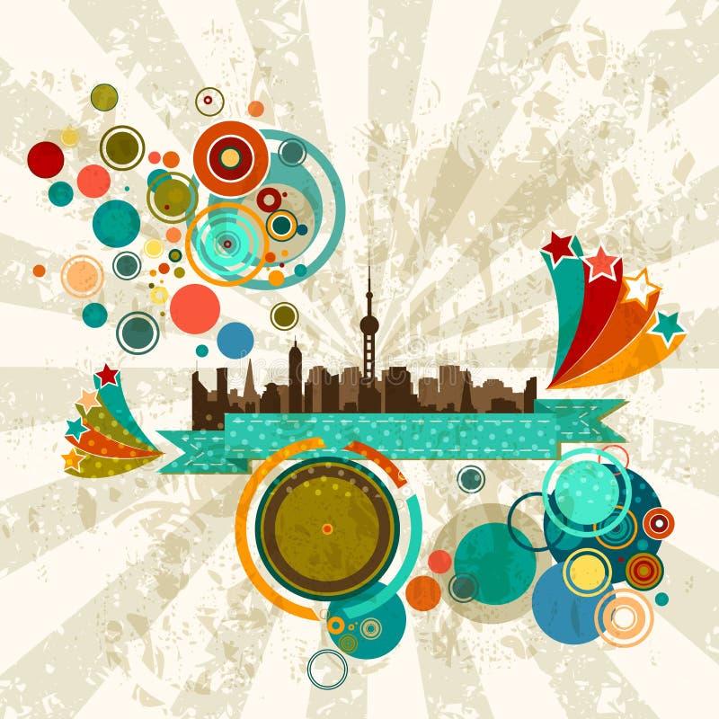 Retro partij van de stadslijn royalty-vrije illustratie