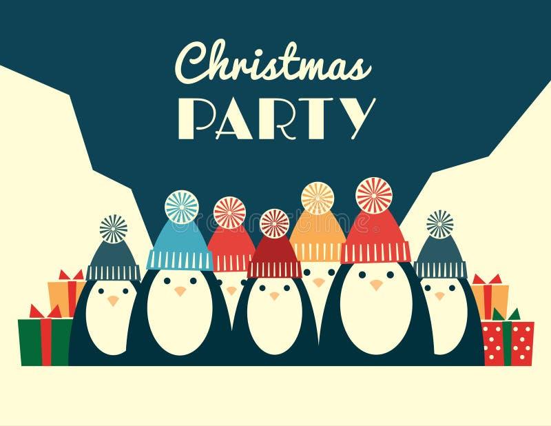 Retro partij van pinguïnenkerstmis royalty-vrije illustratie
