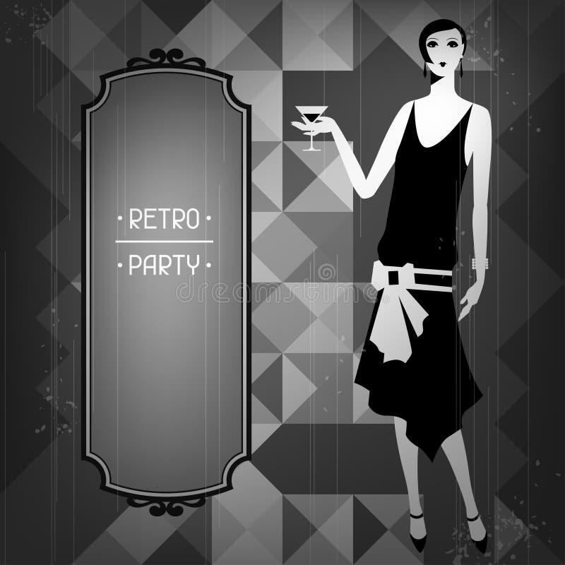 Retro partijachtergrond met mooi meisje van vector illustratie