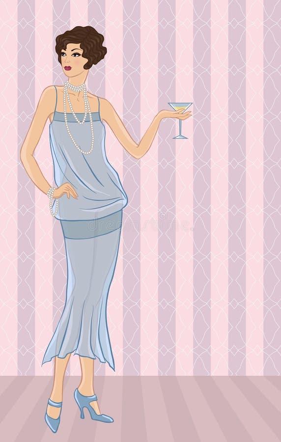Retro partijmeisje Vectorillustratie voor uw royalty-vrije illustratie