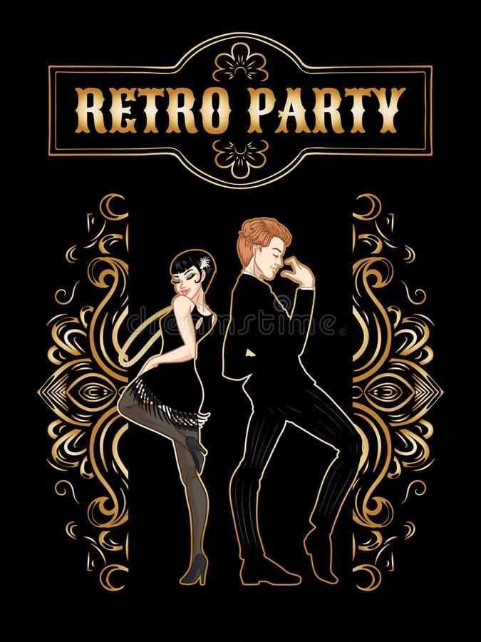 Retro party card, man and woman dressed in 1920s style dancing, flapper girls handsome guy in vintage suit, twenties, vector stock illustration