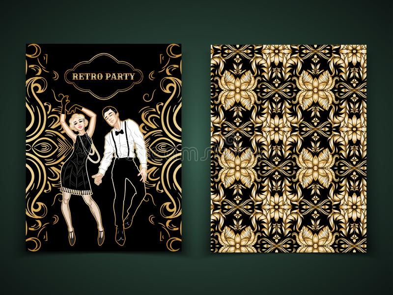 Retro party card template, man and woman dressed in 1920s style dancing, flapper girl, handsome guy, decorative pattern, vector. Illustration design royalty free illustration