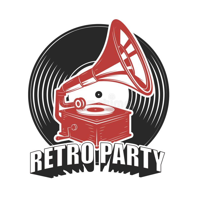 Retro party. Emblem with Vintage style gramophone. Design element for poster, card, emblem, sign. stock illustration