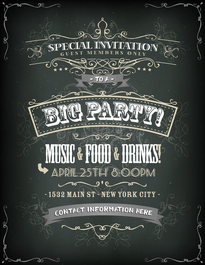 Retro Party Invitation On Chalkboard stock illustration