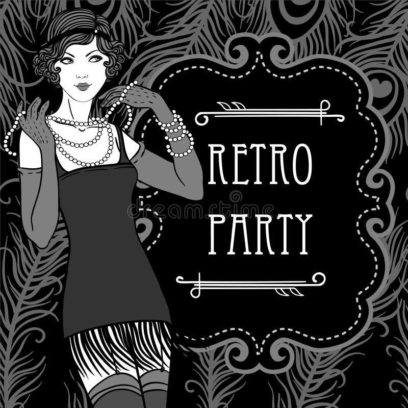 Retro party invitation design in 20's style stock illustration