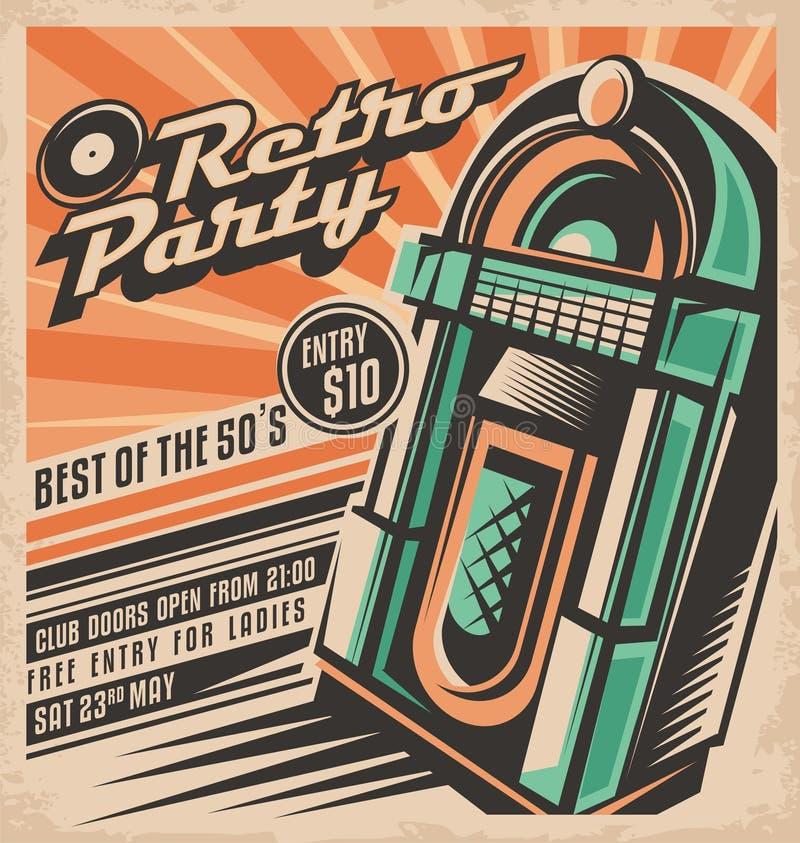 Retro Party Invitation Design Stock Vector - Image: 57632943