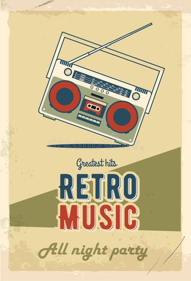 Retro party poster design. Music event at night club. Vintage invitation template. Grunge effects. Old cassette tape royalty free illustration