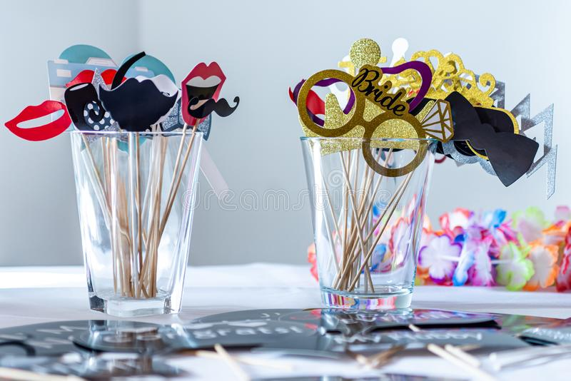 Retro Party set Glasses, lips, mustaches, masks design photo booth party wedding funny pictures.  stock photo