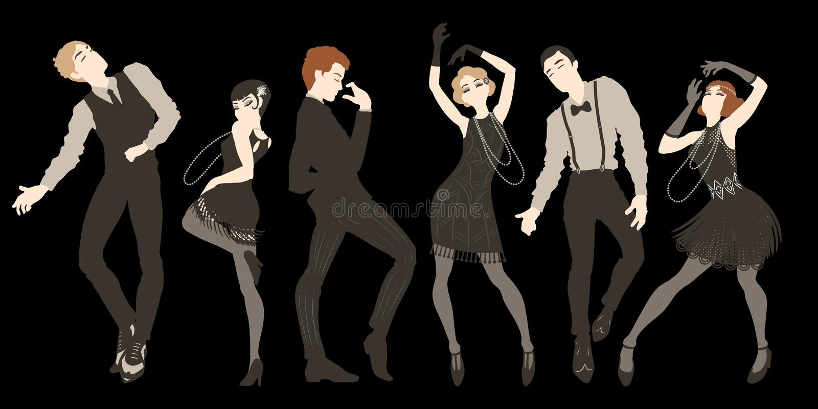 Retro party set, men and women dressed in 1920s style dancing, flapper girls, handsome guys in vintage suits, twenties, vector stock illustration