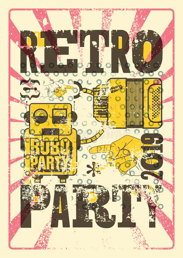 Retro Party typographic grunge poster design with old television screen, accordion and robot. Vector illustration. Retro Party typographic grunge poster with vector illustration