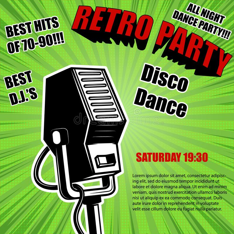 Retro party. Vintage microphone on comic style background. Design elements for poster. royalty free illustration