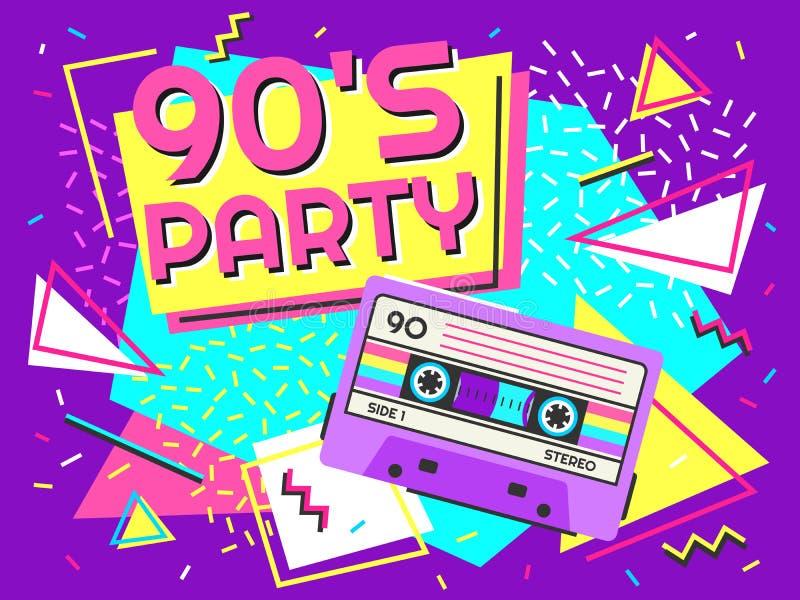 Retro Partyjny plakat Lata dziewięćdziesiąte muzyka, rocznik taśmy kasety sztandar i 90s tła stylowa wektorowa ilustracja, ilustracja wektor