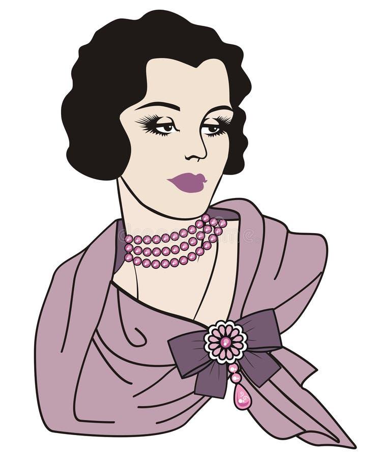 Kobieta retro styl ilustracji