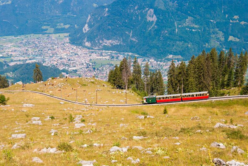 Retro passenger train moves from Schynige Platte to Interlaken. Switzerland. Retro passenger train moves from Schynige Platte to Interlaken Switzerland stock photography