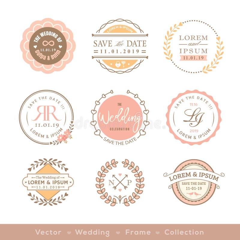 Retro pastelowy ślubny logo ramy odznaki projekta element royalty ilustracja